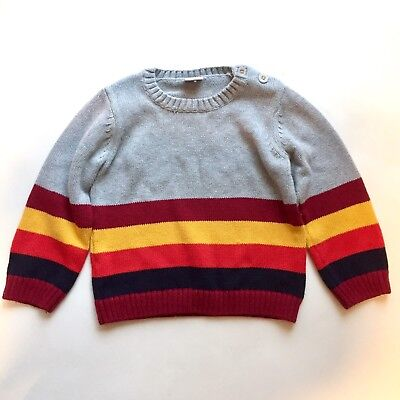 Polarn O Pyret Sweden Boys Gray Red Striped Colorblock L/S Sweater 104 3-4 Yrs