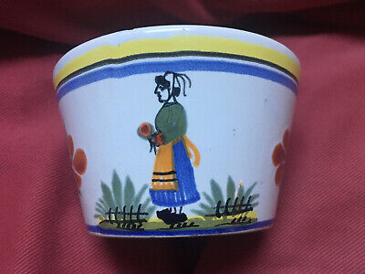 Quimper HENRIOT (BRETON LADY CENTER) Oversized Pottery Cup & Saucer France 4""