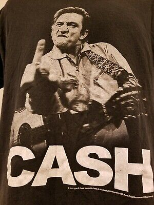 Johnny Cash Middle Finger T Shirt Size Large 2012 Zion