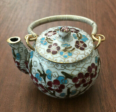 Chinese White Cloisonne Teapot Bronze Brass Copper Enamel Cherry Blossom Birds