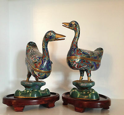 Pair Large Old Vintage Chinese Cloisonne Ducks Statues Figures  ~Wood Stands
