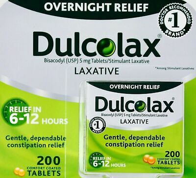 Dulcolax Laxative - Overnight Relief Bisacodyl (USP) 5mg Tablets (200 PC) NEW
