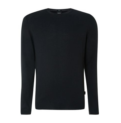 Hugo Boss Merino Black Crew Knitted Jumper - Brand New With Tags