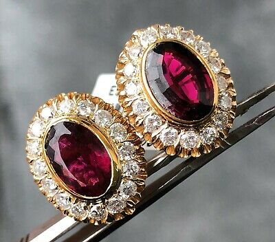 Estate 10Ct Diamond & Tourmaline 18K Yellow Gold Oval Halo Open Filigree Earring
