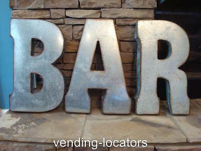 """BAR 42"""" x 20"""" Industrial Rustic Block Letters Recycled Galvanized Metal Cafe Pub"""