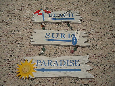 Large Beachy Wooden Wall Hanging Plaques*lot Of 3*great Condition