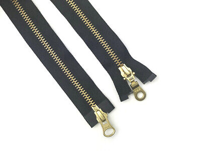 Ykk Brass Metal Gold Teeth Open Ended 2-Way Two Way Zip No. 5 36 Inch 91Cm