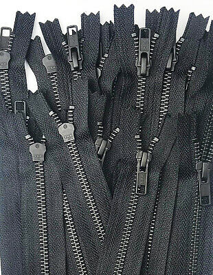 CLOSED END JOB LOT BLACK GOLD METAL ZIPS 14CMS 5.5 INCHES VARIOUS QUANTITY PACKS