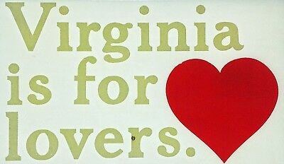 Original Vintage Virginia Is For Lovers Iron On Transfer