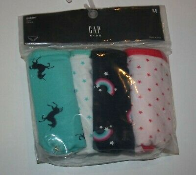 New Gap 4 Pack Panties Bikinis Underwear Medium 8 Year NWT Unicorn Stars Rainbow