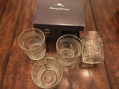 TOMMY BAHAMA Set of 4 Etched Pane Glasses Crystal Style Old Fashioned Whisky Bar