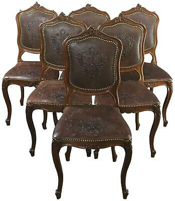 Dining Chairs Louis Xv Rococo Walnut Leather Vintage French 1930 Set 6
