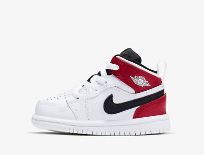 da8b37fd3ff02 NEW BABY AIR Jordan 1 Mid Toddler Shoes (640735-116) White Gym Red ...