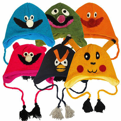 Childrens Kids Monster Face Colourful Handmade Winter Woolly Hats - Clearance
