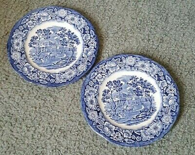 Two(2) Liberty Blue MONTICELLO Staffordshire Historic Scenes BREAD BUTTER PLATES