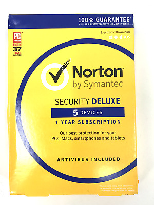 Symantec Norton Security Deluxe 5 Devices Pcs Mac IOS Android Card 1 Year  #0738