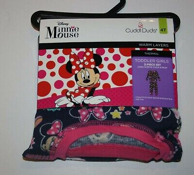 New Cuddl Duds 4T Girls Disney Minnie Mouse Base Layer Thermal Top & Pants Set