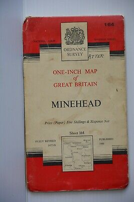 1960 old OS Ordnance Survey Map Seventh Series one-inch map sheet 164 Minehead