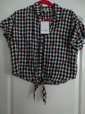 08697ffbd3af0e New Tie Front Top Plaid Cherry Embroidered Blouse Love Fire Black White Red  Sz M