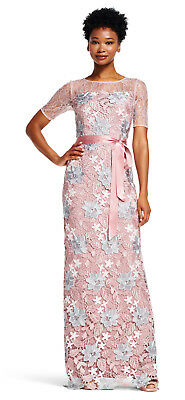 Adrianna Papell Quartz Multi Embroidered Lace Dress with Short Sleeves  14  $279