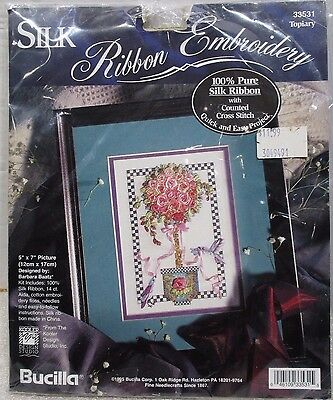 "Bucilla  33531 Silk Ribbon Embroidery Counted Cross Stitch ""Topiary"" <>1995"