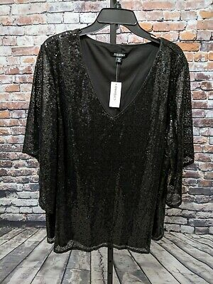 37c2899dbedc4c Dress Barn Roz Ali Plus Size 3X Black Sequin Formal Bell Sleeve Top NEW
