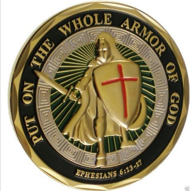 Put on the Whole Armor of God  Ephesians 6-13-17 Challenge Coin Color Bible