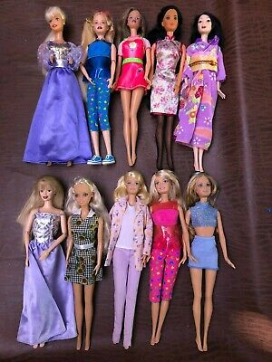 Lot of 10 Mattel BARBIE DOLL DOLLS Dressed Very Nice Condition
