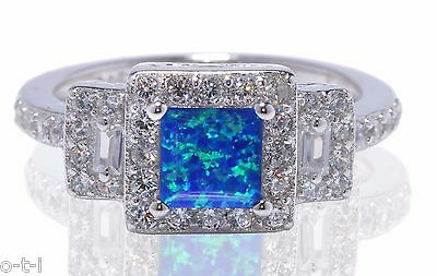 Blue Fire Opal Princess Clear CZ Sterling Silver Fashion Ring