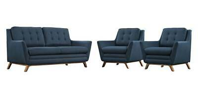 3-Pc Upholstered Living Room Set in Azure [ID 3799197]