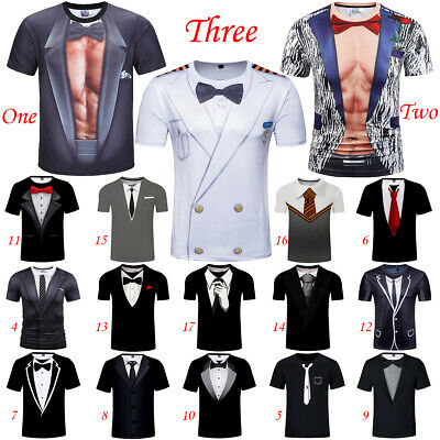 Women Men Casual T-Shirts 3D Print Faux Tuxedo Short Sleeve Tee Many Style Tops