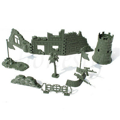 Set Military Wall Blockhouse Weapon Model Kits Toy Soldier Army Men Accessories