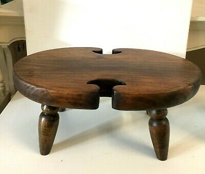 "Vintage Footstool Ethan Allen 17"" Solid Wood Milking Stool"