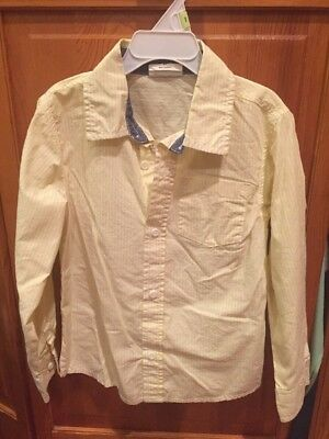 Crazy 8 Yellow And White Striped Long Sleeve Button Down Collared Shirt