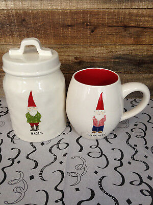 Rae Dunn GNOME CANISTER & MUG New Fast  PRIORITY Shipping