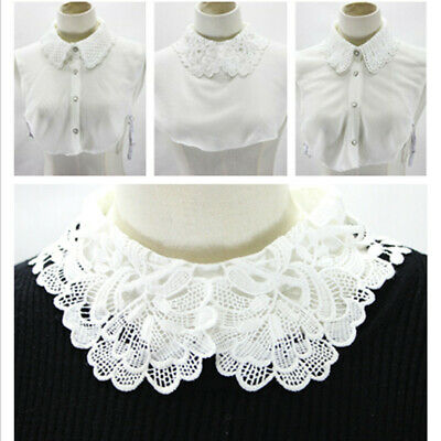 Women's White Lace Detachable Faux Fake False Lapel Shirt Collar Necklace Choker