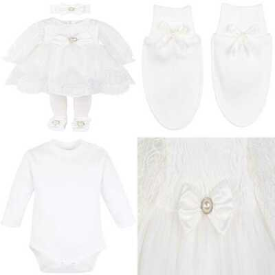 13643f67ff Taffy Baby Girl Newborn Christening Baptism Lace WHITE Dress Gown 6 P 3  Months