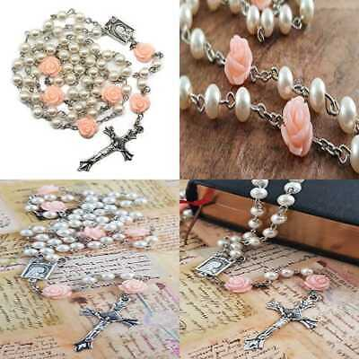 Catholic Rosary Necklace WHITE Pearl Beads Our ROSE Lourdes Medal & Cross In Vel