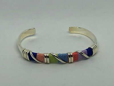 Alpaca Silver Cuff Bracelet Rainbow Wrap - from TAXCO Mexico Hand Made- #2