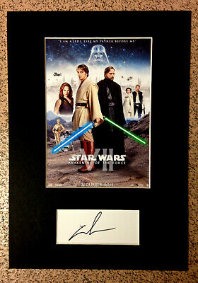 GEORGE LUCAS Autograph/Signature + RARE VARIANT STAR WARS Vll MINI MOVIE POSTER