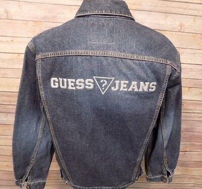 Guess Jeans Boys Denim Blue Jean Jacket Spell Out Size XL 20