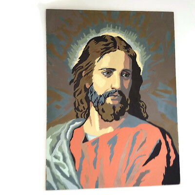 "Vintage Mid-Century Paint by Number Jesus Christ 16 x 12"" Unframed Completed"