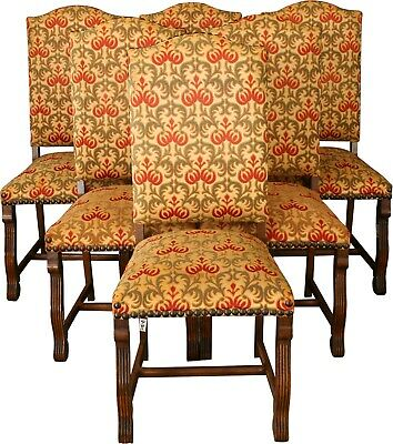 Vintage Dining Chairs Renaissance Style Set 6 Oak 1950  Upholstered