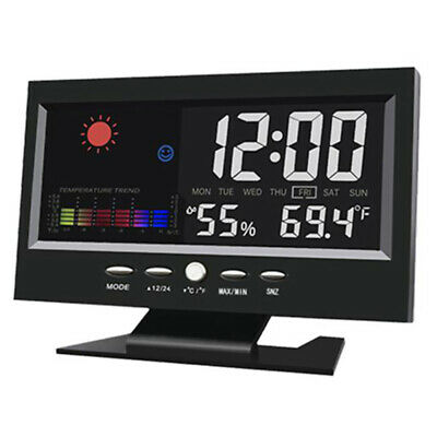 Electric Digital Weather LCD Snooze Alarm Clock Color Display w/ LED Bac JEE
