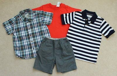 Boys TCP Childrens Place Plaid Polo Shirts Shorts Orange Blue Green Lot 3 3T