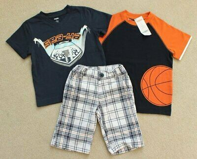 Boys Gymboree Speedboat Racer Boat Basketball Shirt Plaid Shorts Outfit 3 Years