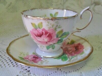 Vintage Royal Albert American Beauty Pink Rose Demitasse Duo Cup Saucer England