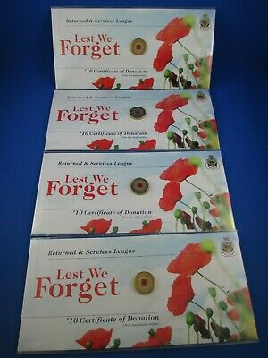 4 X 2012 $2 Colour Printed Red Poppy Unc Coin On Rsl Original Card