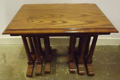 Lovely Quality Solid Oak Nest of Three Tables, in the Antique Style