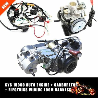 150CC Full Auto GY6 Engine Reverse Gear & GY6 Carby & Wiring Loom Harness Set